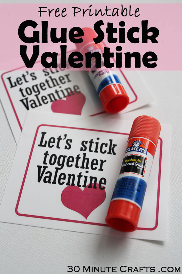 Free Printable Glue Stick Valentine