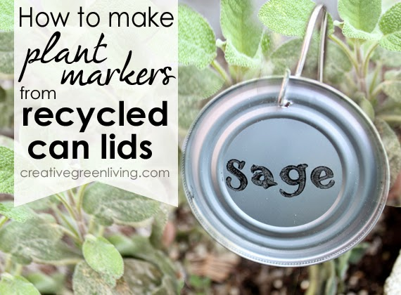 DIY plant markers - turn old can lids into cute garden markers