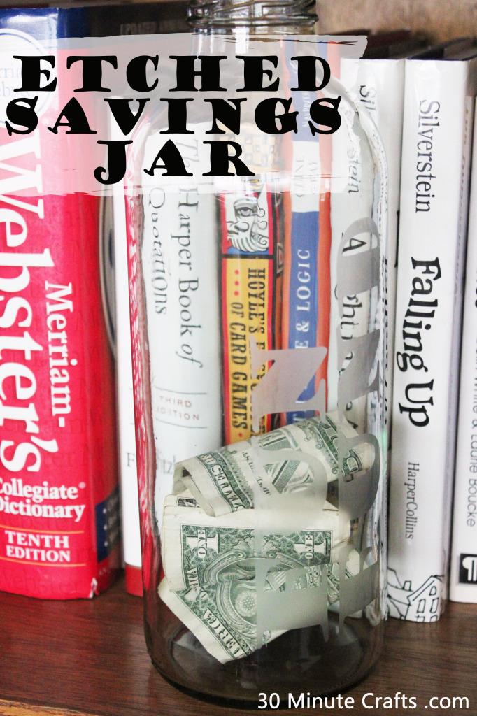 Etched Savings Jar