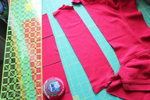 cut shirt into strips