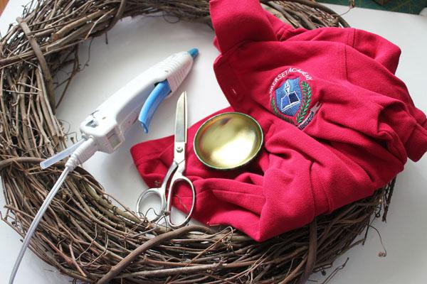 supplies for school shirt wreath