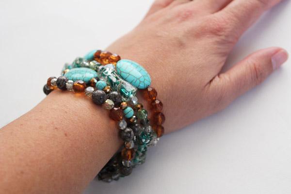 wrist full of beaded bracelets