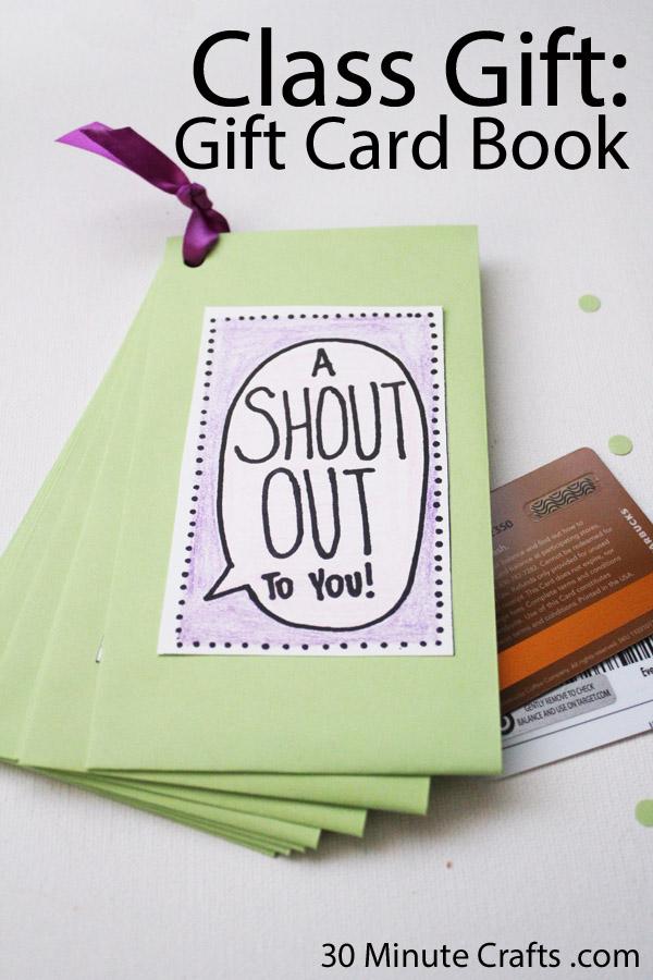 Class Gift for Teacher Appreciation Week - Gift Card book