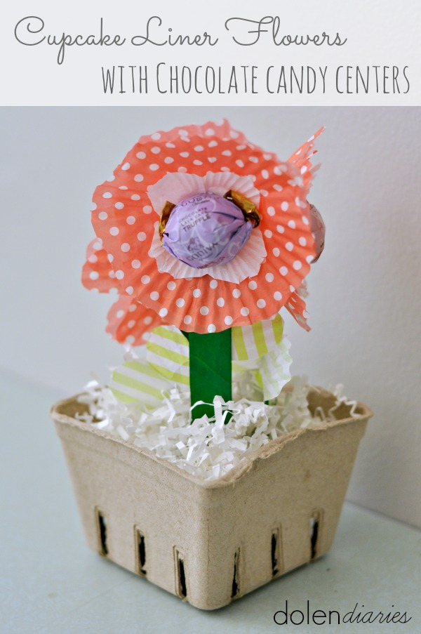 Cupcake Liner Flowers with chocolate Candy Centers title_zpss0k6kr1v