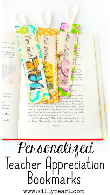 Simple and Quick Personalized Teacher Appreciation Bookmarks - The Silly Pearl