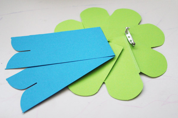 glue paper ribbon to back