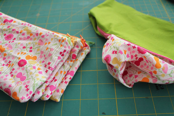 turn zippered pouches right side out
