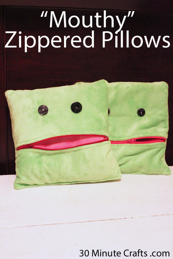 Mouthy Zippered Pillows on 30 Minute Crafts com