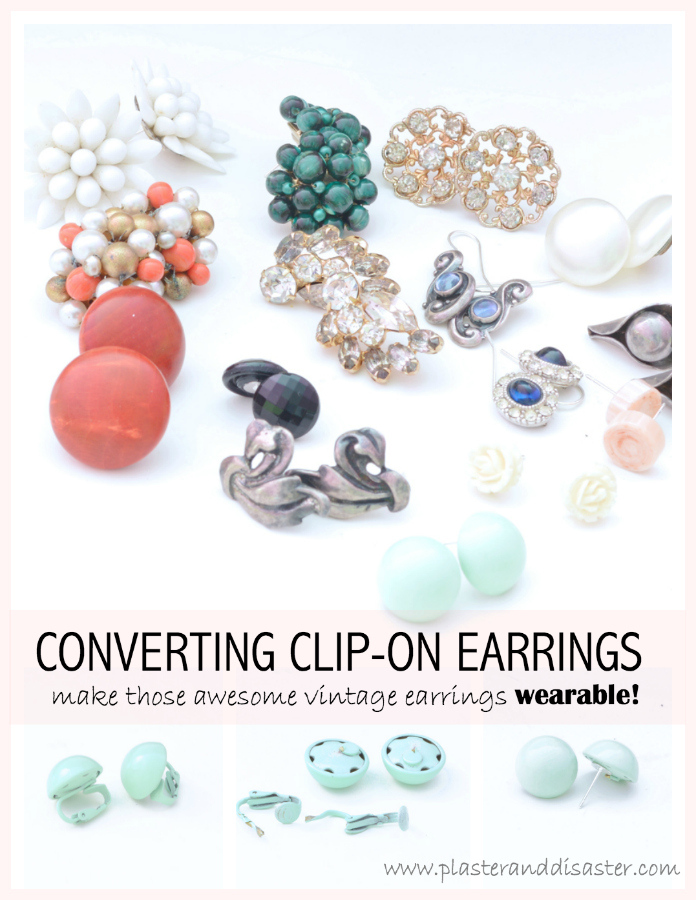 Plaster and Disaster - converting clip-on earrings