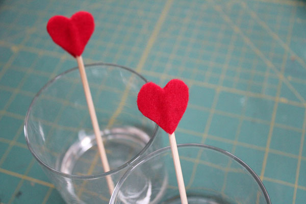 finished heart cocktail pick