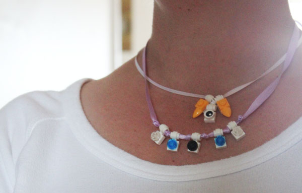 wearing lego necklaces