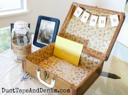 Vintage-suitcase-and-CARD-banner-on-wedding-gift-table-DuctTapeAndDenim.com_