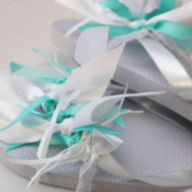 ribbon tied flip flops