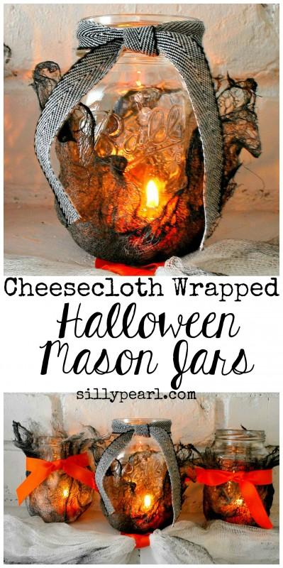 Halloween-Mason-Jars-made-Creepy-with-Cheesecloth-399x800
