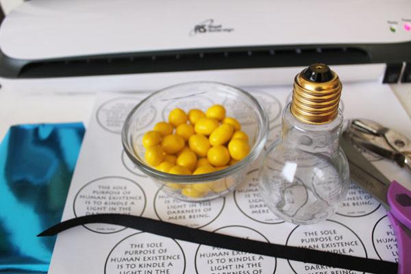 supplies for candy light bulb treats