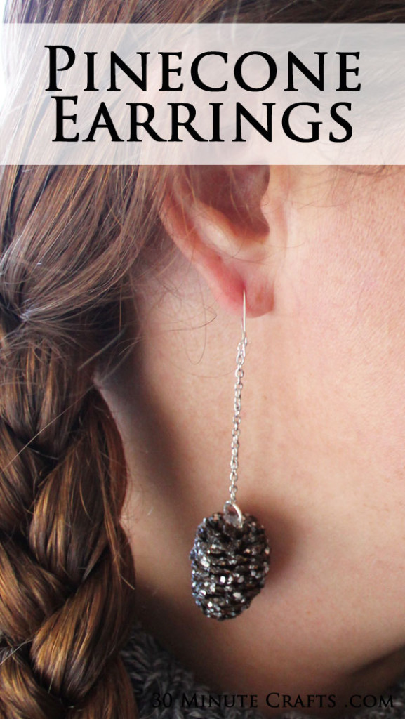 These glittery pinecone earrings are simple to make and look so cute! Make them to wear this holiday season.