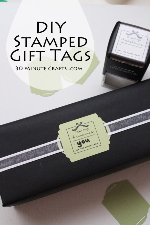 DIY Stamped Gift Tags with custom stamps from Expressionery. Great for Christmas, or gift-giving any time of year!
