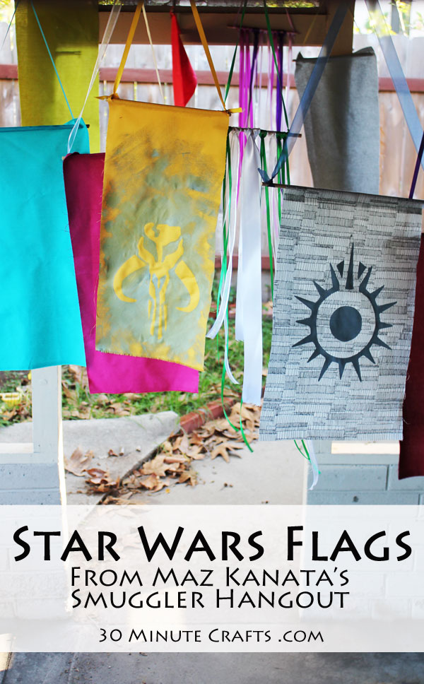 Star Wars flags from Maz Kanata's Smuggler Hangout - Great for Star Wars Party Decor, or to hang in the bedroom of any Star Wars fan.