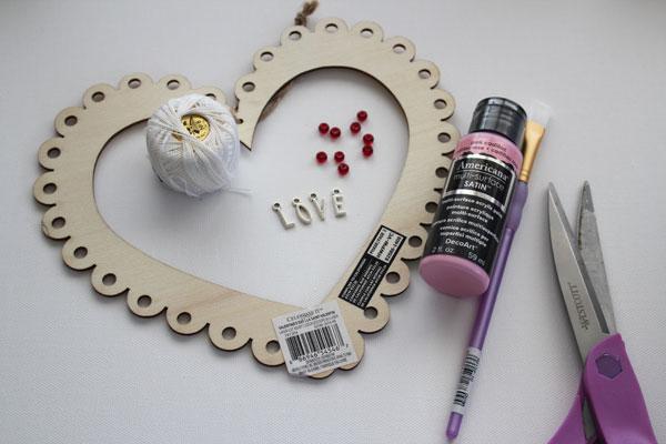 supplies for heart dreamcatcher