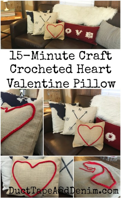 15-minute-Valentines-Day-craft-red-crocheted-heart-canvas-pillow.-Get-more-DIY-and-craft-ideas-on-DuctTapeAndDenim.com_