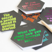 finished inspirational quote notebooks - hexagon shaped with foil