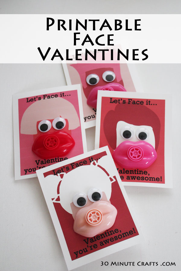 make your own face valentines by printing and assembling these with lip whistles and googly eyes!