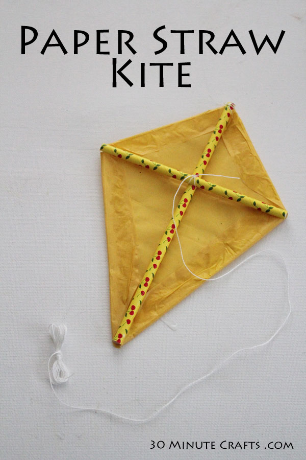 Paper Straw Kite - Simple to make, this fun kite decor is perfect for a party or play date!