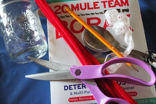 supplies for borax crystal heart
