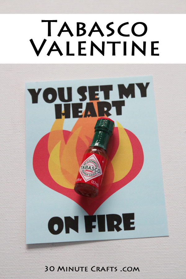 Tabasco Valentine Printable - make this Valentine's Day extra spicy!