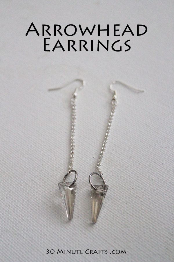 Crystal Arrowhead Earrings - you won't believe how easy these are to make!