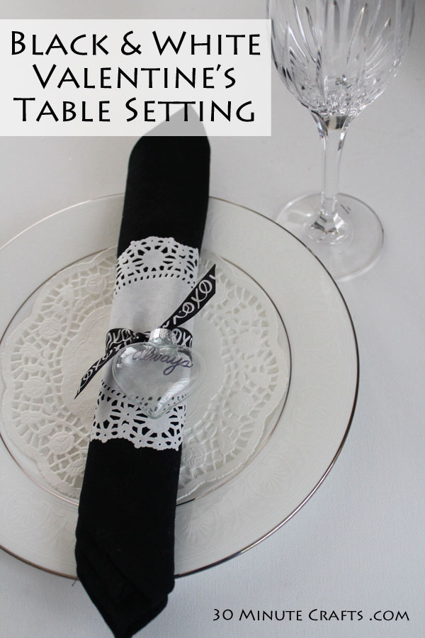 Black and white Valentine's Day table setting - a classy and romantic option!