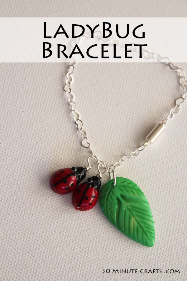 Ladybug bracelet is easy to make in just a few minutes, with a few basic jewelry making supplies