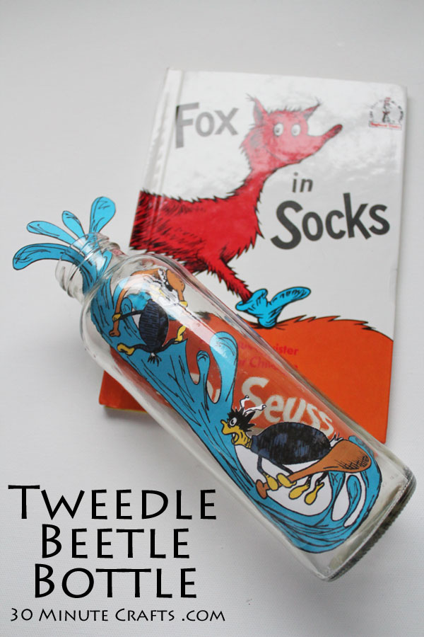 Tweedle Beetle Bottle from Dr. Seuss Fox in Socks Book - easy Seuss Craft idea!