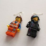 finished emmet and wyldstyle earrings