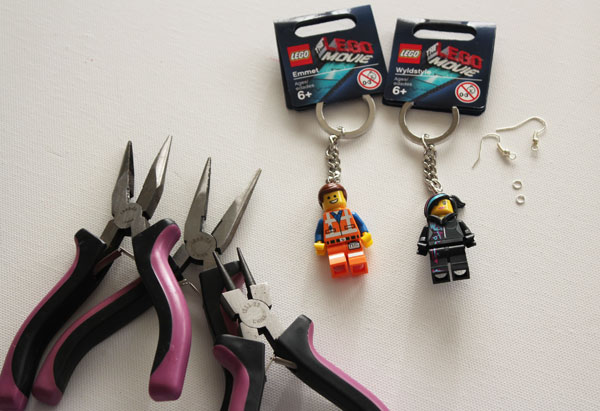 supplies for lego minifigure earrings