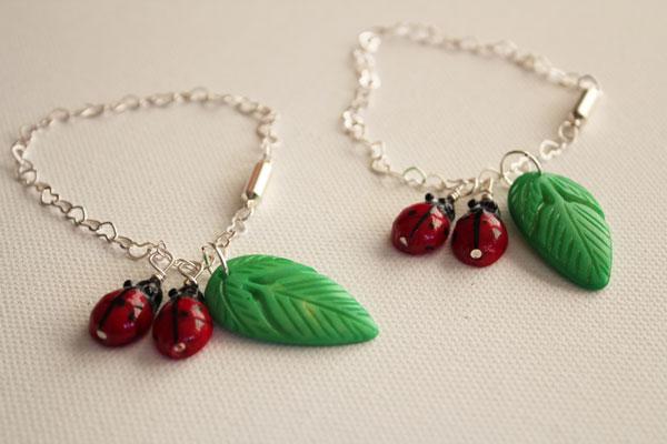 two ladybug bracelets