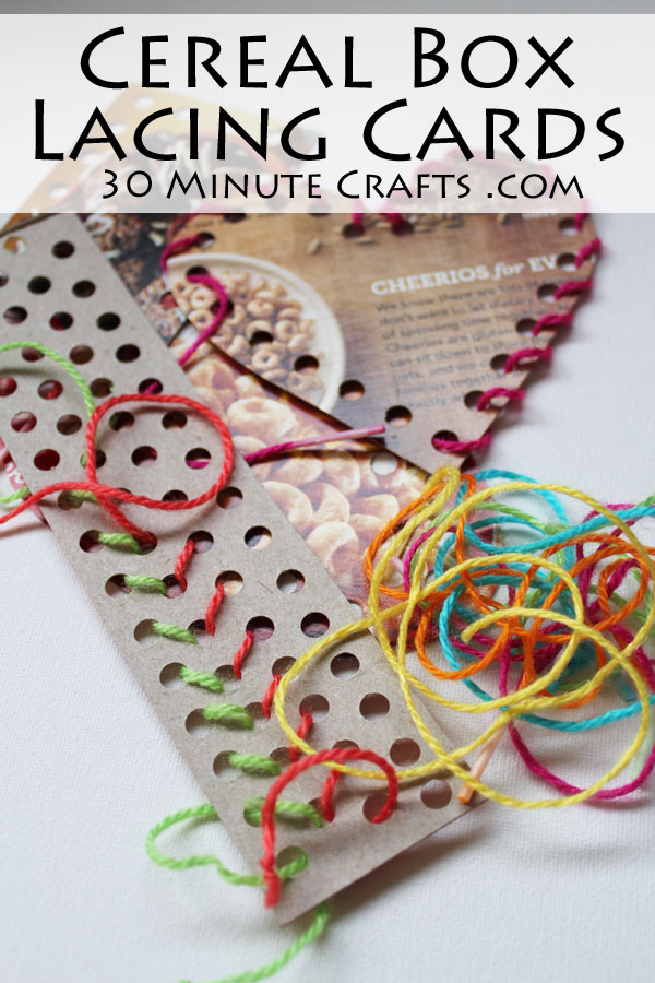 Busy bag lacing cards from cereal boxes 30 minute crafts for What type of cardboard are cereal boxes made of