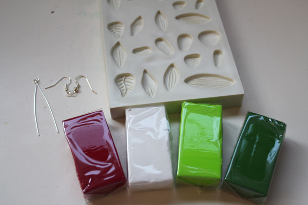 clay and supplies for tulip earrings