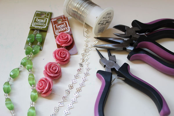 rose neclace supplies