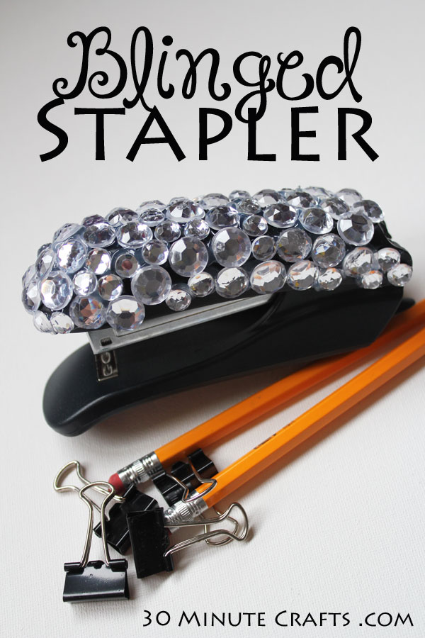 Easy to make Blinged Stapler - add sparkle to this everyday office accessory!