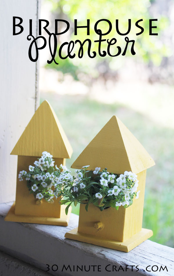 Simple to Make Birdhouse Planter