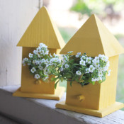 finished birdhouse planters