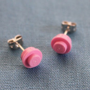finished lego stud earrings