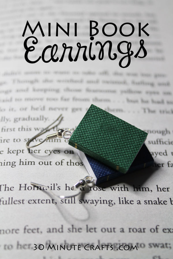 Make these mini book earrings for the book lover in your life!