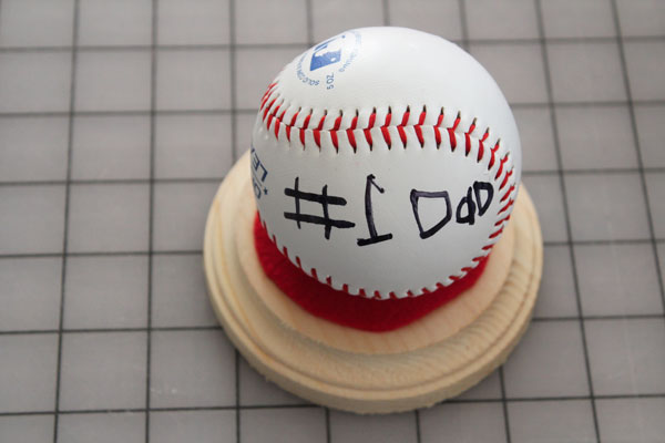 finished baseball on simple DIY baseball stand