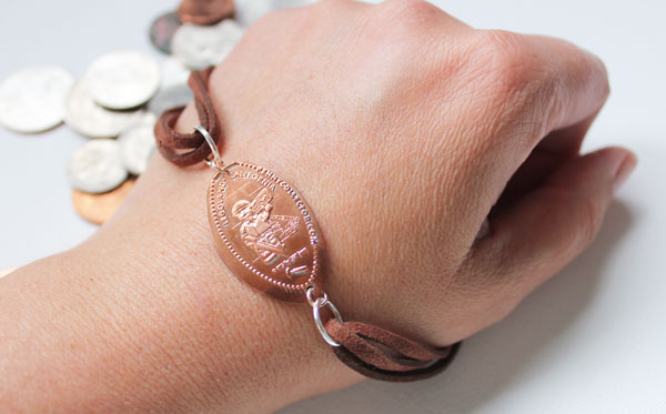 finished smashed penny bracelet
