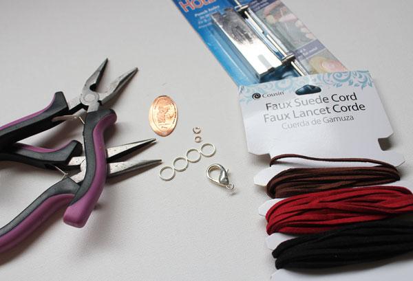 supplies for smashed penny bracelet