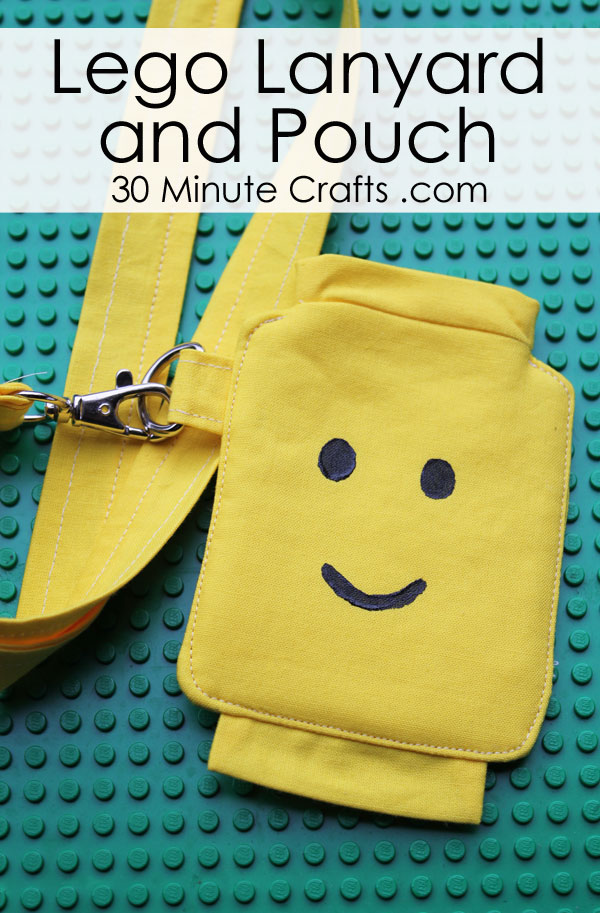 DIY Lego Lanyard and pouch - stitch up this fun pouch on a lanyard featuring a Lego Minifigure head