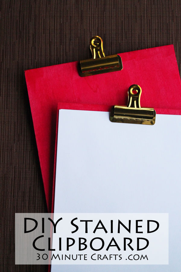 DIY Stained Clipboard - make this clipboard with a removable clip that can be used portrait or landscape style