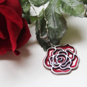 Faux enameled rose charm